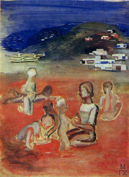 Ф.В. Антонов. Картина : Ясли в Грознефти. 1931. Холст, масло. 90х72
