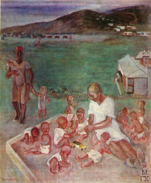 Ф.В. Антонов. Картина : Дети. Грознефть. 1931. Бумага, гуашь. 63х47