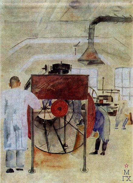Ф.В. Антонов. Картина : Чайная фабрика. 1930. Бумага, акварель. 58х42