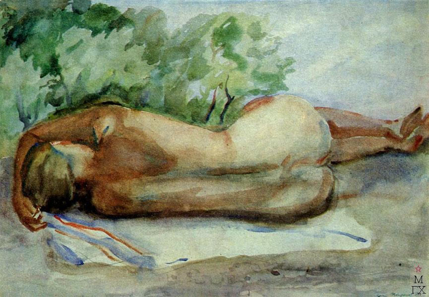 Ф.В. Антонов. Картина : На солнце (Обнаженная). 1934. Бумага, акварель. 35х50.