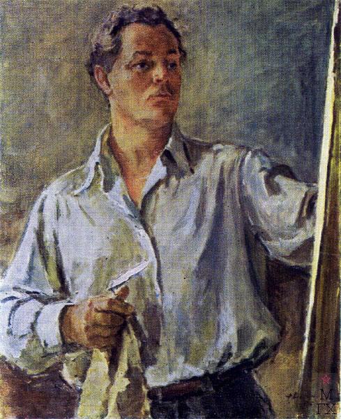 Ф.В. Антонов. Картина : Автопортрет. 1954. Холст, масло. 80х65. Тамбовская обл. картинная галерея