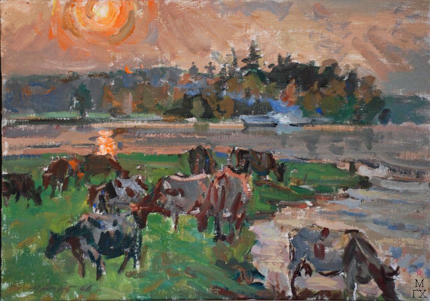 Ф.В. Антонов. Картина : Пейзаж со стадом. 1966. Х.Темпера. 50х70