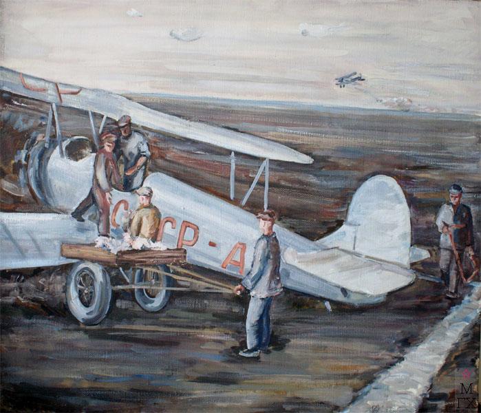 Ф.В. Антонов. Картина : Самолёт (вариант одноимённой картины 1932 г.). 1960. Х.М. 60х70