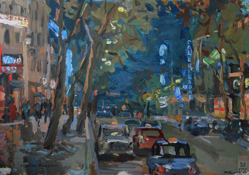 Ф.В. Антонов. Картина : Бульвар капуцинов. 1961. Картон, темпера. 35х50