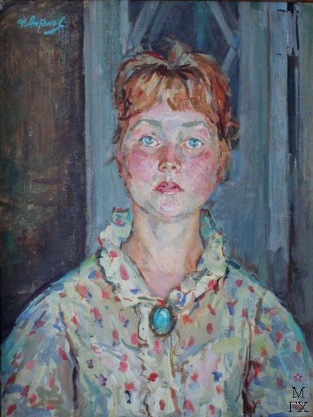Ф.В. Антонов. Картина : Портрет Тани Антоновой. 1965. Холст, темпера. 70х53.