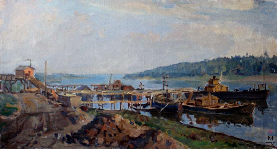Ф.В. Антонов. Картина : Стройка на Волге. 1955. Х.М.