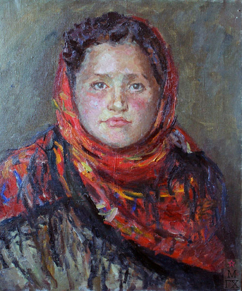 Ф.В. Антонов. Картина : Портрет Шуры Шубиной. 1949. Х.М. 50х42