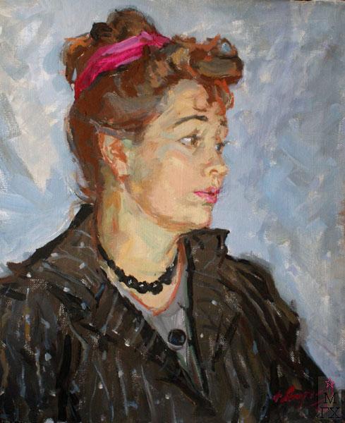 Ф.В. Антонов. Картина : Портрет жены. 1960. Х.Темпера. 60х50