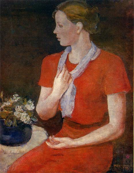 Ф.В. Антонов. Картина : Портрет в красном (портрет жены). 1932. Холст, масло. 90х70. Государственная Третьяковская галерея