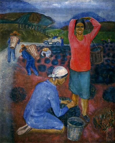 Ф.В. Антонов. Картина : Чаква (сбор чая). 1929. Х.М. 210х180