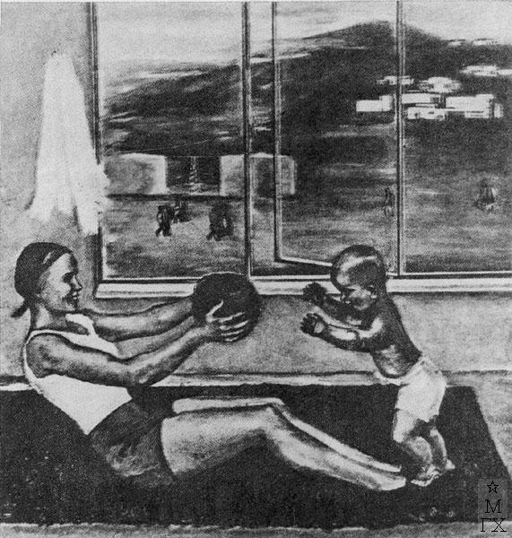Ф.В. Антонов. Картина : Новый быт (Выходной день). 1933. Х.М. Государственный Русский музей