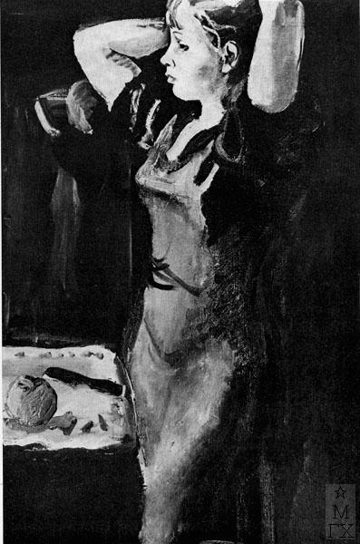 Ф.В. Антонов. Картина : У зеркала. 1934. Х.М. 91х60