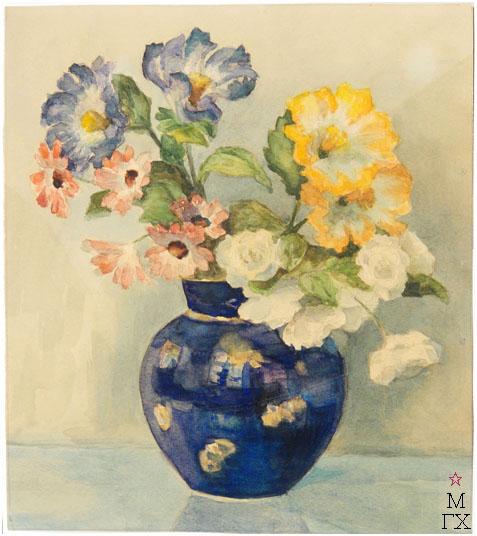 Е.М. Ануфриева. Картина : Букет в голубой вазе. Акварель.