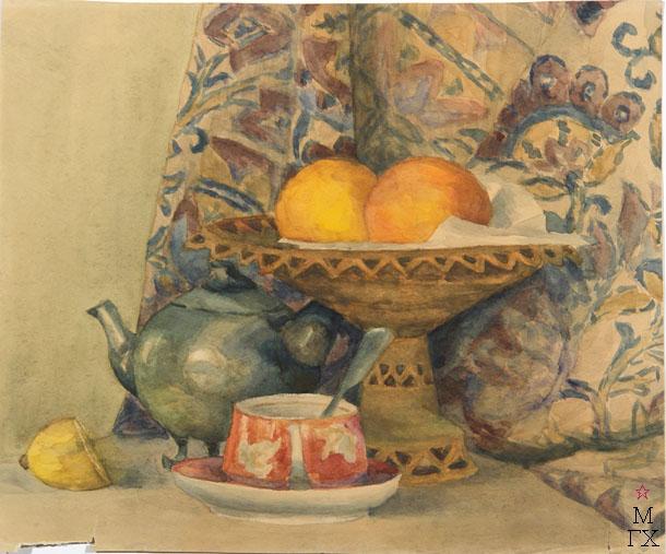 Е.М. Ануфриева. Картина : Персики в вазе. Акварель.