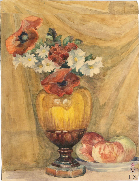 Е.М. Ануфриева. Картина : Натюрморт с желтой вазой и яблоками