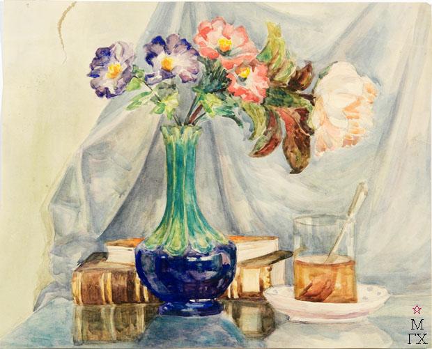 Е.М. Ануфриева. Картина : Цветы в синей вазе