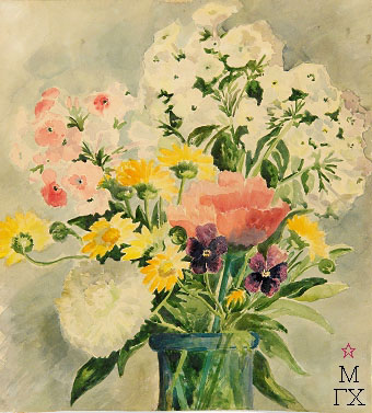 Е.М. Ануфриева. Цветы. Акварель.