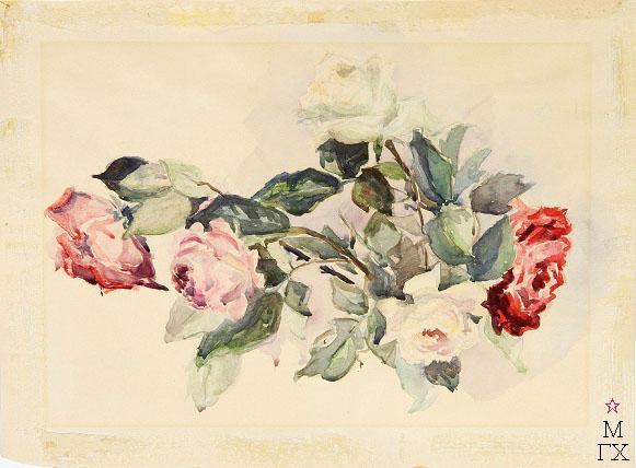 Е.М. Ануфриева. Картина : Розы. Акварель.