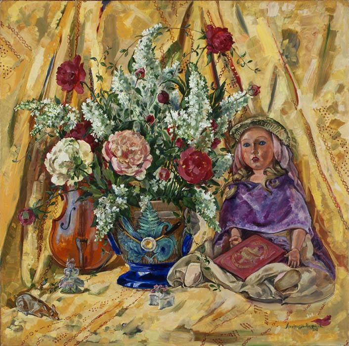 К.В. Ануфриева-Мирлас. Натюрморт с куклой и скрипкой.