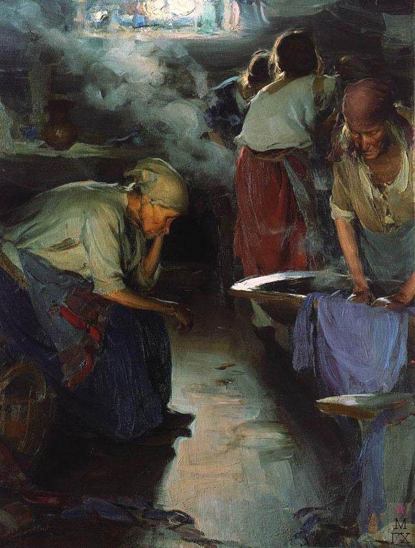 А.Е. Архипов. Картина : Прачки. Конец 1890-х. Холст, масло. 91x70.  Государственная Третьяковская галерея.