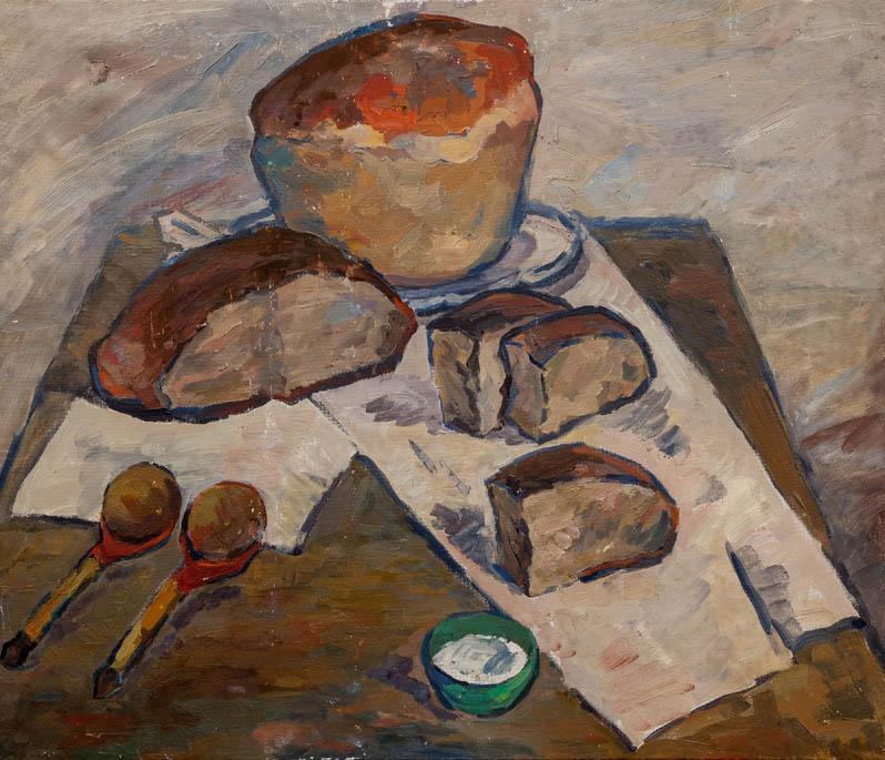 Э.Н. Бабад. Картина : Натюрморт с хлебом. х.м. 71х83.