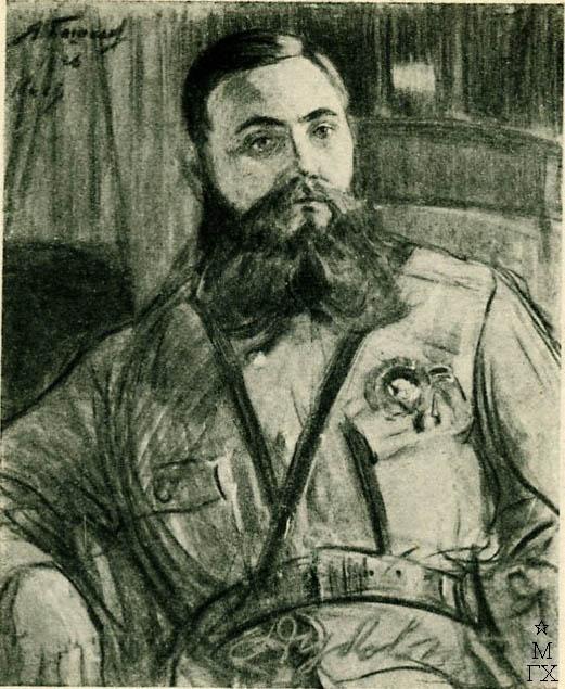Я.А. Башилов. Портрет И.Н. Дубового командира корпуса. 1926. Пастель. 73х63.