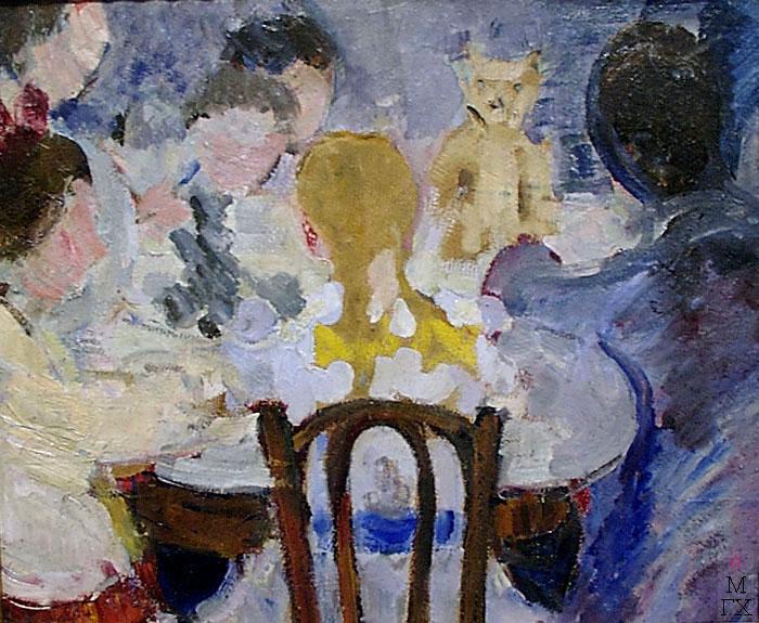Я.А. Башилов. Дети за столом. 1930-е. Картон, масло. 44х53.