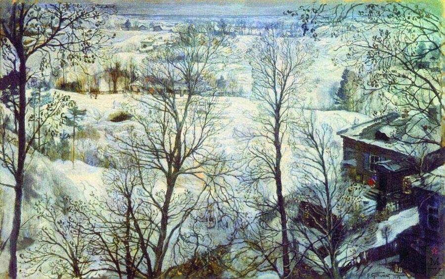 И.И. Бродский. Картина : Зимний пейзаж. 1917. Картон, масло.  39 x 60. Частное собрание