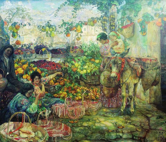 И.И. Бродский. Картина : Италия. 1911. Холст, масло. 208 x 250. Государственная Третьяковская галерея