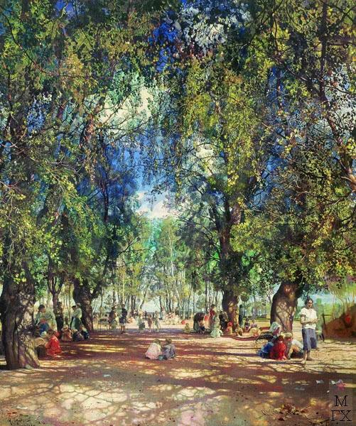 И.И. Бродский. Картина : Аллея парка. 1930. Холст, масло. 125 x 108. Государственная Третьяковская галерея