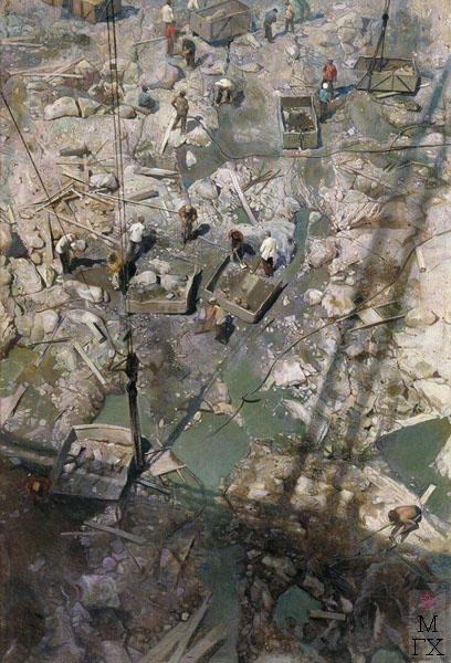 И.И. Бродский. Картина : Днепрострой. Холст, масло. Челябинская областная картинная галерея