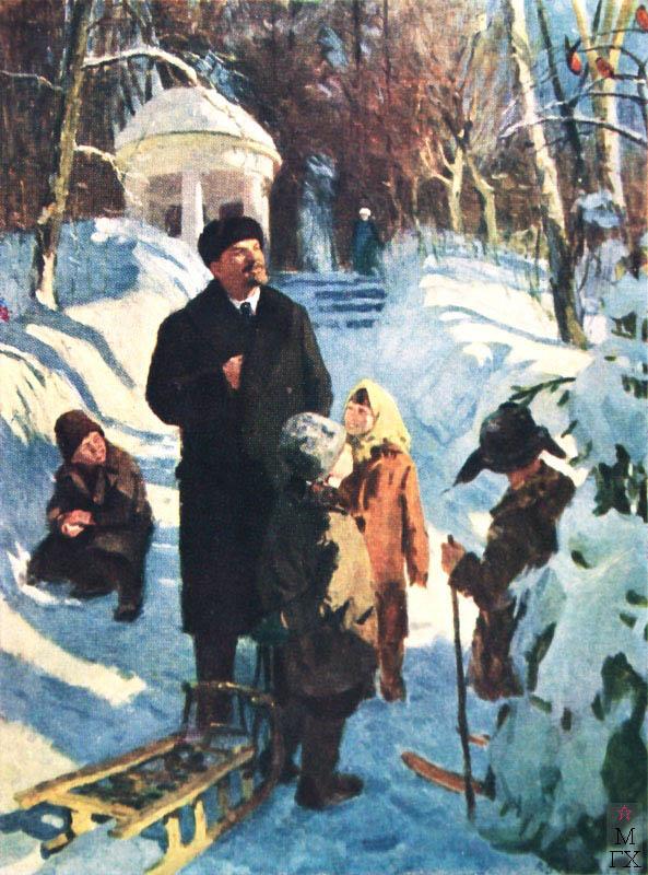 В.С. Буланкин. Ленин с детьми в Горках. 1961.