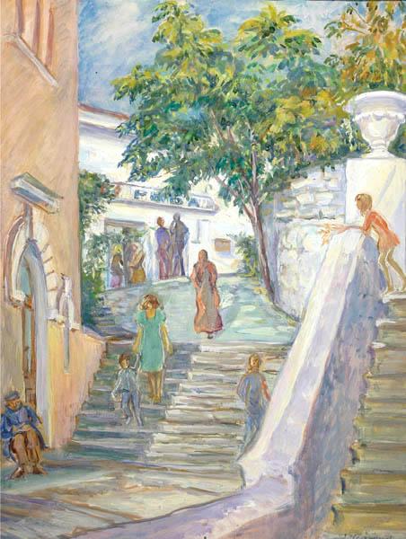 П.Н. Чернышева. Картина : Лестница в Гурзуфе. 1982 г. Бум., акв. 70х50