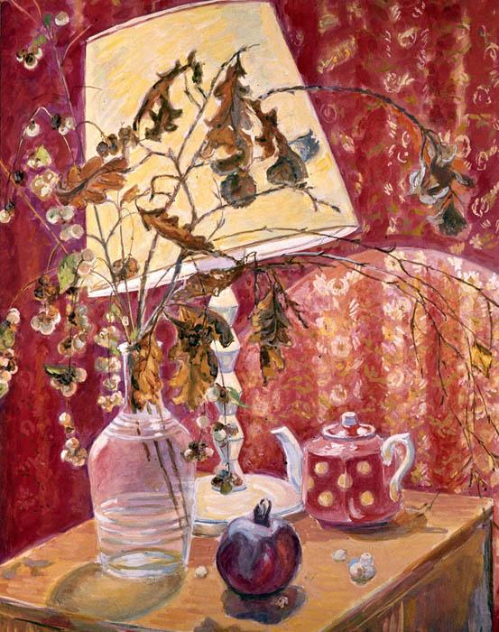 П.Н. Чернышева. Картина : Красный натюрморт.  1978 г. Бум., акв. 70х60