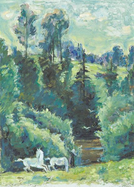 П.Н. Чернышева. Картина : Пейзаж с белой лошадью. 2001 г. Бум., монотипия 32х23
