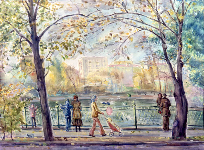 П.Н. Чернышева. Картина : Московский зоопарк. 1978 г. Бум., акв. 59х70