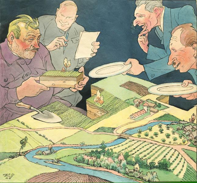 К.С. Елисеев. Картина : Иллюстрация к журналу «Крокодил». 1946. Акварель, тушь.  31 x 33 .