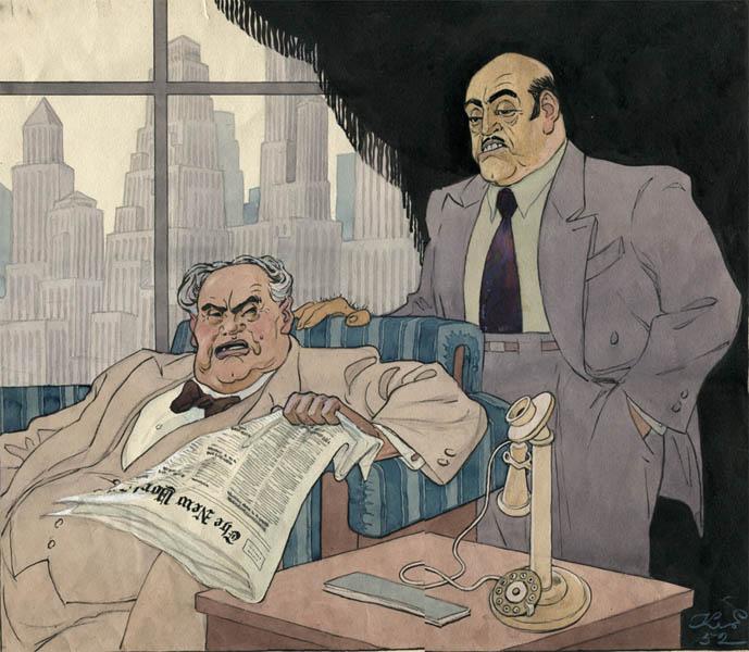 К.С. Елисеев. Картина : Иллюстрация к журналу «Крокодил». 1952. Акварель, тушь. 34.5 x 42.