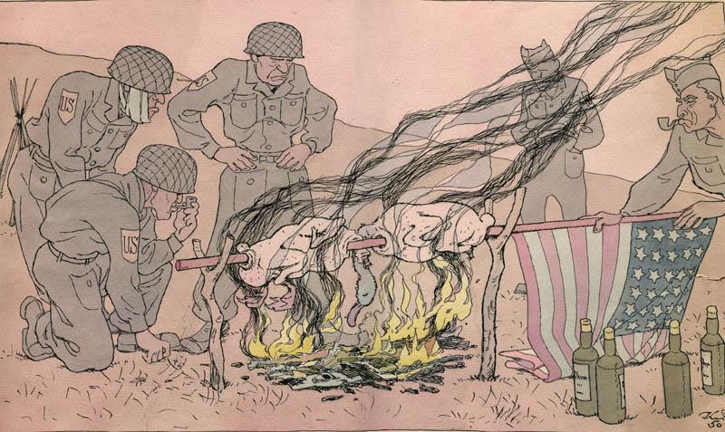 К.С. Елисеев. Картина :Иллюстрация к журналу «Крокодил». 1950. Акварель, тушь.  24 x 42 .