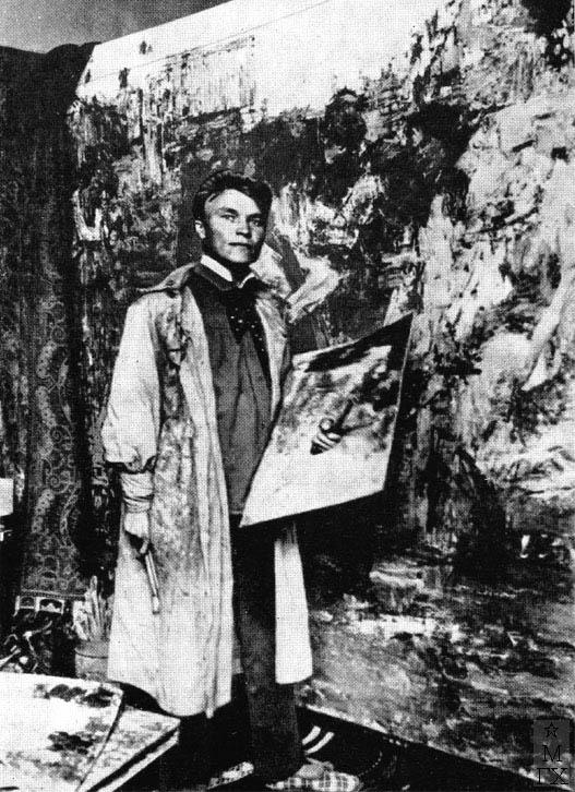 Н.И. Фешин в своей мастерской в Казанской худ. школе. Фотография 1909 г.