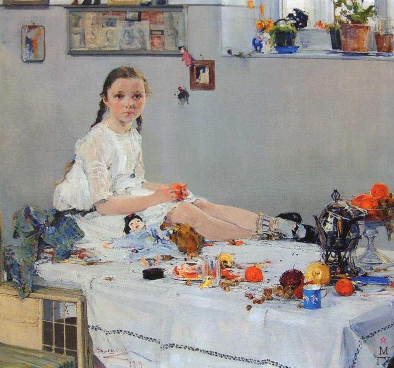 Н.И. Фешин. Картина :  Портрет Вари Адоратской. 1914.