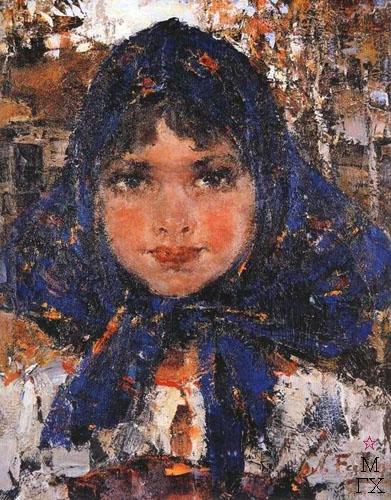 Н.И. Фешин. Картина : Портрет девочки в синем платке.