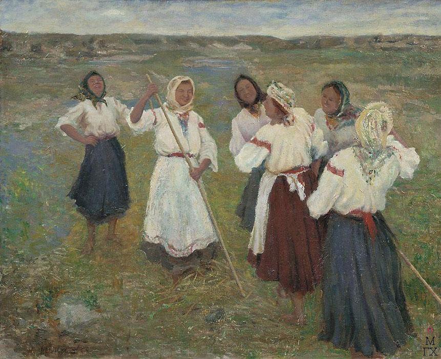 Н.И. Фешин. Картина : Чувашские девушки. Холст, масло. Волгоградский областной музей изобразительных искусств