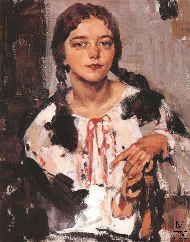 Н.И. Фешин. Картина : Портрет Ии в крестьянской блузе.