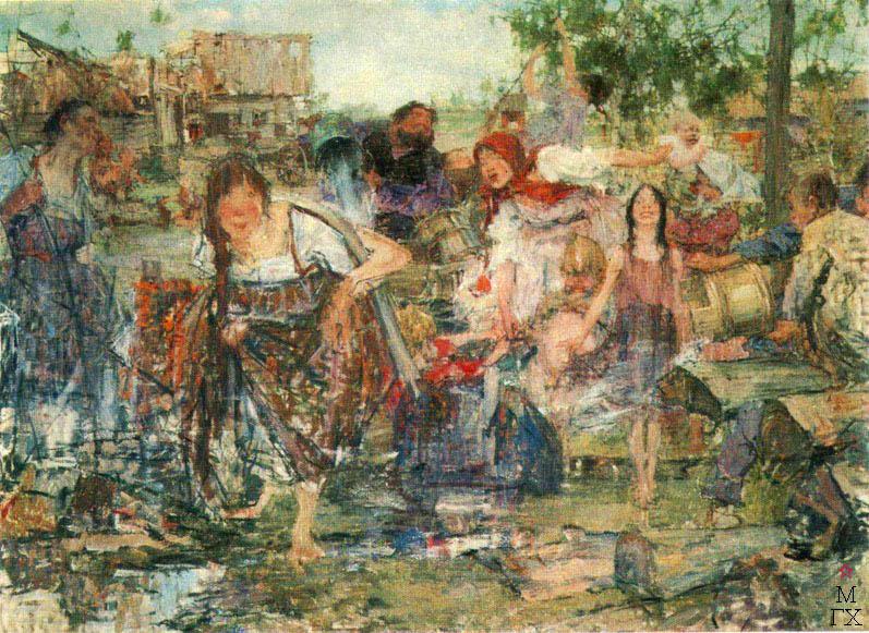 Н.И. Фешин. Картина :  Обливание. 1911.