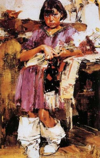 Н.И. Фешин. Картина : Портрет девочки в сапожках.