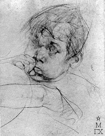 Н.И. Фешин. Рисунок : Голова мальчика.