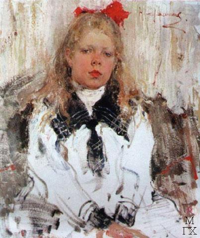 Н.И. Фешин. Картина : Портрет Нины Белькович. 1910.