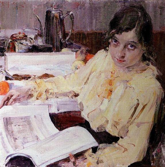 Н.И. Фешин. Картина : Портрет М.В. Евлампиевой.1914.