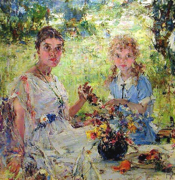 Н.И. Фешин. Картина :  Портрет жены с дочерью. 1920-е гг.
